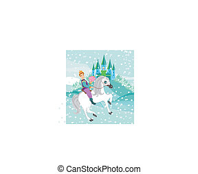 Prince riding a horse to the princess on a winter day