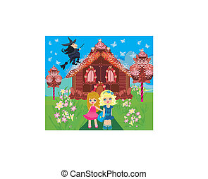 gingerbread house , children and witch