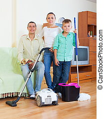 Ordinary family finished housework - Ordinary family of...