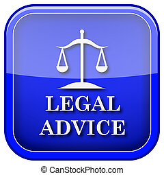 Legal advice icon - Square shiny icon with white design on...