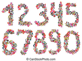 Numbers isolated on a white background, Collage made of...