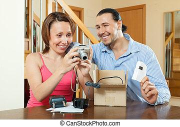 par, Novo, compacto, digital, câmera