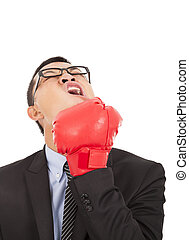 businessman attack himself with boxing gloves