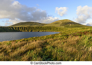 Lake in crater of Lagoa Rasa, Flores island, Azores...