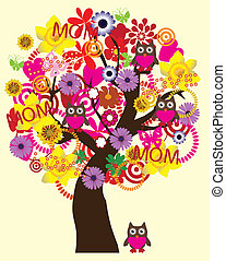 mother's day tree - vector tree for mother's day with owls