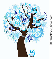 winter tree - vector winter tree with snowflakes, owls