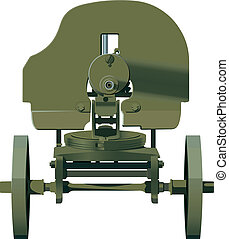 Maxim machine gun barrel turned to the viewer Green Isolated...