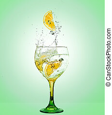 Gin Tonic  - Glass of gin and tonic with lemon