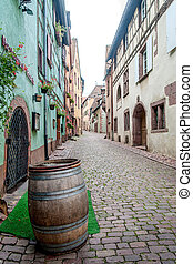 Old Alley with Wine Barrel