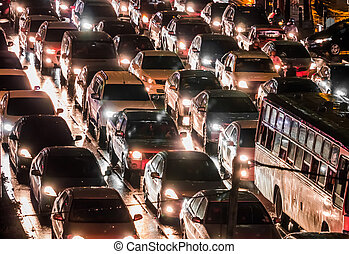 Crowded car in the night - Crowded car in the bad traffic...