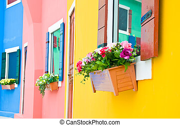 Colorful of flower on window - colorful of artificial flower...
