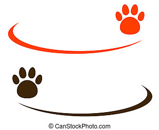 background with pet paw - two backgrounds with colorful pet...