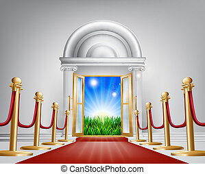 Red carpet door to your future - A red carpet grand luxury...