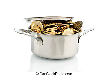 pot with euro coins - a cooking pot is well filled with euro...