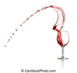Red wine splash from a glass isolated on white background