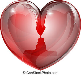 Couple faces heart love concept Man and womans head...