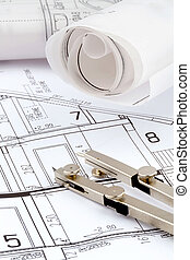 a house plan - blueprint for a house. with compass and ruler