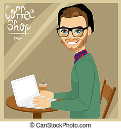 Man In Coffee Shop - Attractive brown haired hipster style...