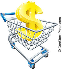 Dollar money trolley concept - Dollar currency trolley...