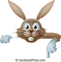 Easter bunny pointing at banner - Illustration of a cartoon...