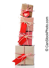 Stack of handcraft gift boxes - Stack of handcraft red...