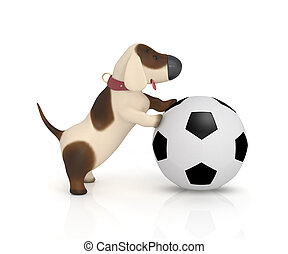 3d dog with a ball.