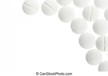 white tablets, symbol photo for medicine, remedies and...