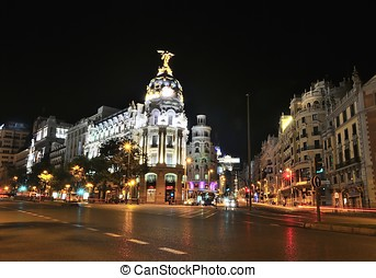 Gran Via street, Madrid. - Night view in Gran via street in...