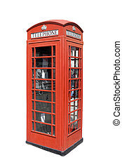 Classical British telephone booth against white bakground...