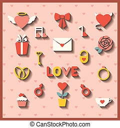 Flat icons for wedding or Valentine
