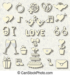 Set of vector icons for wedding