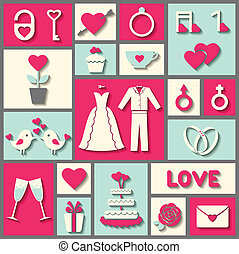 Set of flat vector icons for wedding or Valentine's day