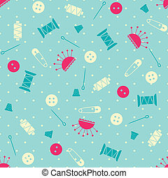 Seamless vector sewing pattern - Seamless pattern with...