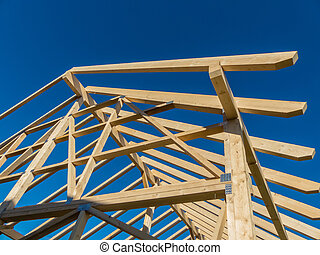roof of a new roof - in a house a new roof is built on a...