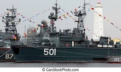 military ships - celebration Russian military sailors loop....