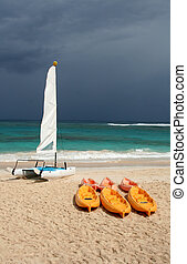 Water Toys at the Beach - A catamaran and six plastic canoes...