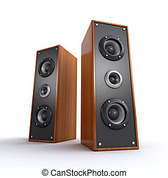 wooden speakers - powerful wooden speakers on the white...