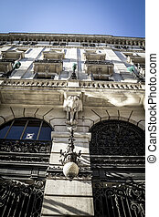 Bank with gargoyles, Image of the city of Madrid, its characteristic architecture