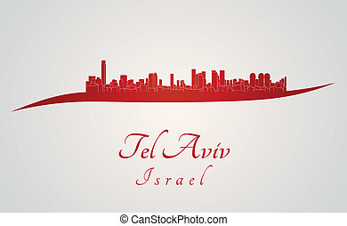 Tel Aviv skyline in red and gray background in editable...