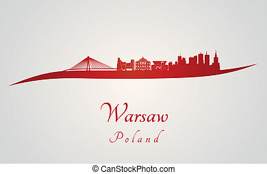 Warsaw skyline in red and gray background in editable vector...