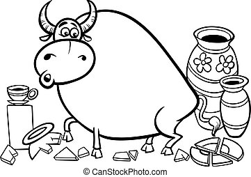 bull in a china shop coloring page - Black and White Cartoon...