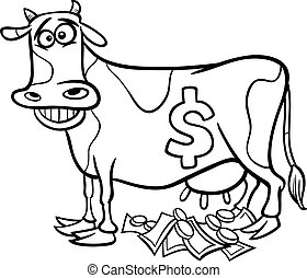 cash cow saying coloring page - Black and White Cartoon...
