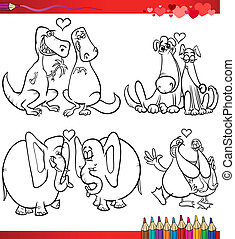 Valentine, caricatura, temas, colorido
