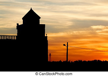 Sunset at Sousse - Silhouette of the building at sunset in...