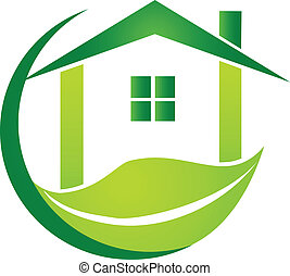 Green house with leaf design logo - Green house with leaf...
