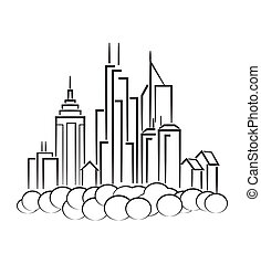 Line art of cityscape - An illustration of city icon made...