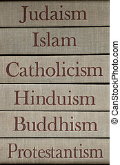major world religions - Book spines listing major world...