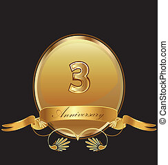 3rd anniversary birthday seal in gold design with bow icon...