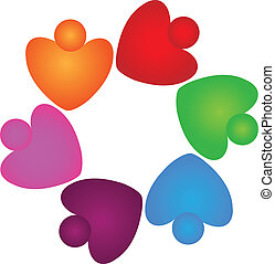 Teamwork hearts helping logo logo