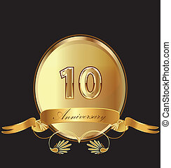 10th anniversary birthday seal in gold design with bow icon...